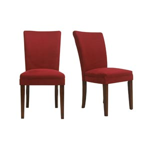 Set of Two Oxford Cranberry Red Side Chairs