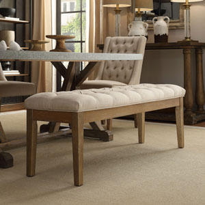 Nordham Cocoa Button Tufted Bench