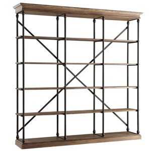 Lubeck Vintage Oak Wide Bookshelf