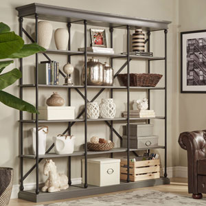 Lubeck Worn Grey Wide Bookshelf