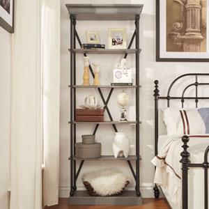 Lubeck Worn Grey Narrow Bookshelf