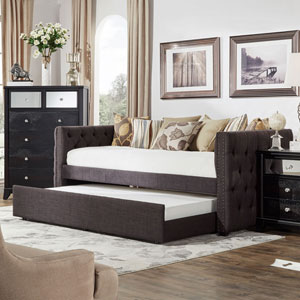 Nassau Graphite Track Arm Chesterfield Daybed with Trundle