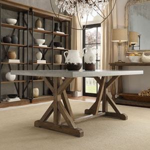 Ellary Rustic Pine Concrete-Topped Trestle Base Dining Table