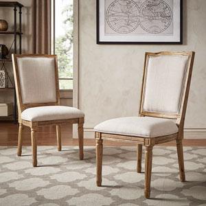 Eliza Beige Linen Wood Side Chair, Set of 2