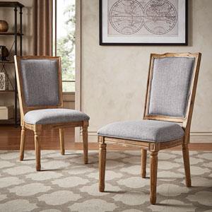 Eliza Grey Linen Wood Side Chair, Set of 2