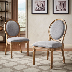 Eliza Grey Linen Wood Side Chair, Set of 2