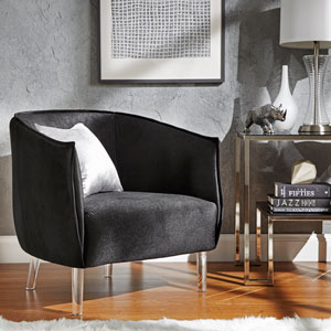 Lila Black Velvet Chair