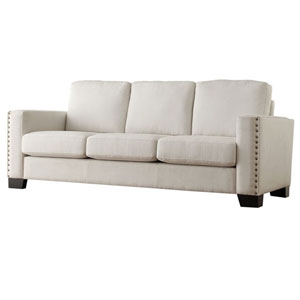 Lydia White Nailhead Sofa