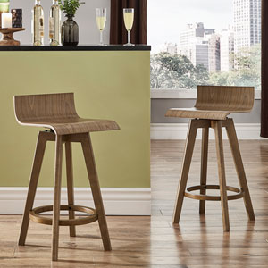 Mick Walnut Swivel Counter Stool