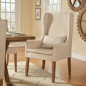 Lisle Beige Wingback Host Chair