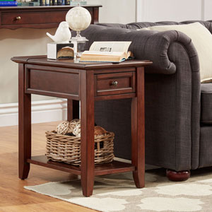 Bernay Espresso Charging Accent Table