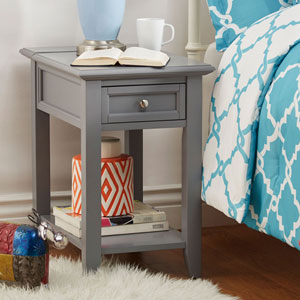 Bernay Grey Charging Accent Table