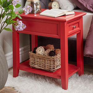 Bernay Red Charging Accent Table
