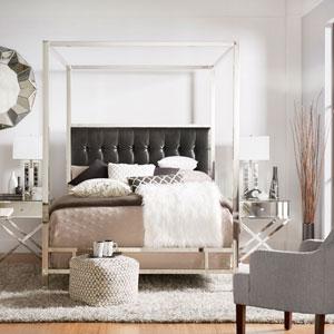 Adora Black Glam Chrome Canopy Bed