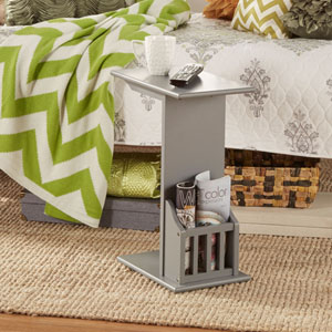 Zora Grey Chairside Rack Accent Table