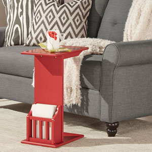 Zora Red Chairside Rack Accent Table