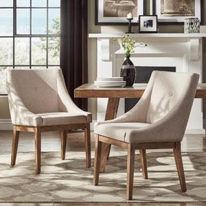 Century Beige Linen Slope Arm Side Chair, Set of 2