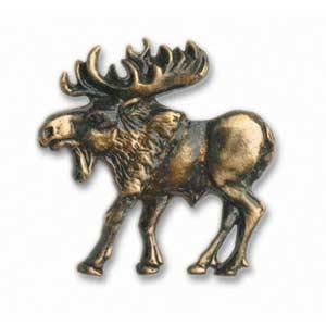 Antique Brass Left Walking Moose Knob