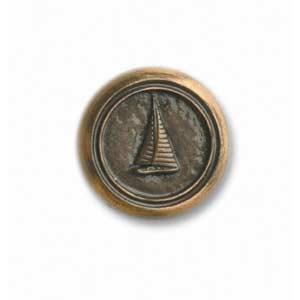 Antique Brass Small Round Sailboat Knob