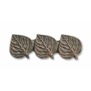 Antique Copper Triple Aspen Leaf Pull