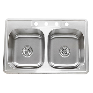 Madaket Brushed Satin 33-Inch Double Equal Self Rimming Drop-In Kitchen Sink