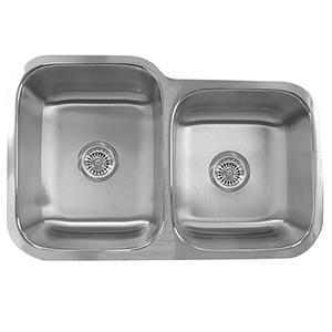 Quidnet Brushed Satin 32-Inch Double Bowl Undermount Kitchen Sink