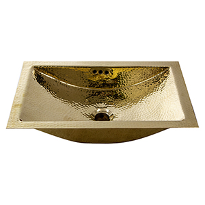 Brightwork Home Brass 19.8-Inch Hand Trough Undermount Bathroom Sink