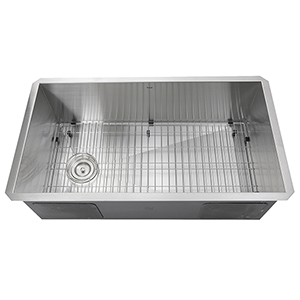 Pro Series Brushed Satin 32-Inch Single Bowl Undermount Kitchen Sink