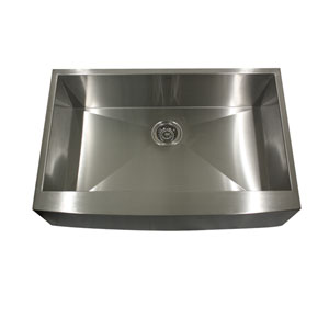 Pro Series Brushed Satin 33-Inch Single Bowl Undermount Apron Front Kitchen Sink