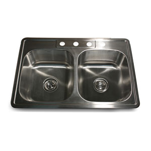 Madaket Brushed Satin 33 Inch Double Equal Self Drop In Kitchen Sink