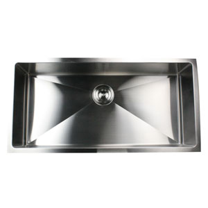 Pro Series Brushed Satin 36-Inch Single Bowl Undermount Kitchen Sink