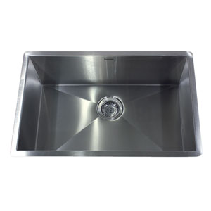Pro Series Brushed Satin 28-Inch Single Bowl Undermount Kitchen Sink