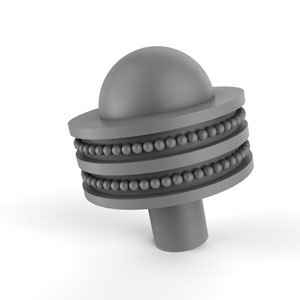 Matte Gray Two-Inch Cabinet Knob with Dotted Ring Detail