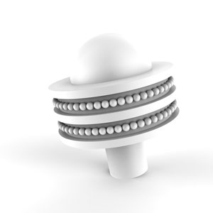 Matte White Two-Inch Cabinet Knob with Dotted Ring Detail