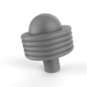 Matte Gray Two-Inch Cabinet Knob with Groovy Ring Detail