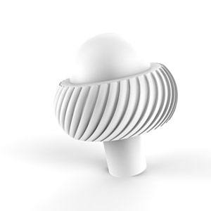 Matte White Two-Inch Cabinet Knob with Twisted Ring Detail