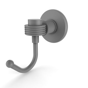 Continental Matte Gray Three-Inch Robe Hook with Groovy Accents