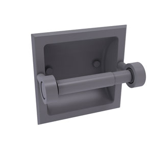Continental Matte Gray Six-Inch Recessed Toilet Tissue Holder