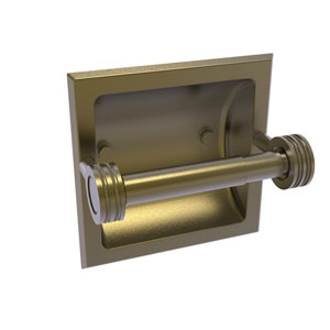 Continental Antique Brass Six-Inch Recessed Toilet Tissue Holder with Dotted Accents