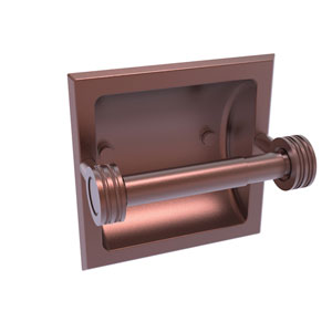 Continental Antique Copper Six-Inch Recessed Toilet Tissue Holder with Dotted Accents