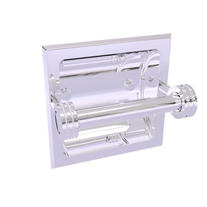 Continental Polished Chrome Six-Inch Recessed Toilet Tissue Holder with Dotted Accents