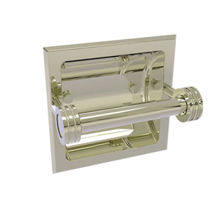 Continental Polished Nickel Six-Inch Recessed Toilet Tissue Holder with Dotted Accents