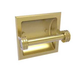 Continental Satin Brass Six-Inch Recessed Toilet Tissue Holder with Dotted Accents