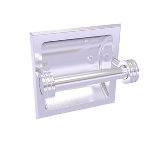 Continental Satin Chrome Six-Inch Recessed Toilet Tissue Holder with Dotted Accents