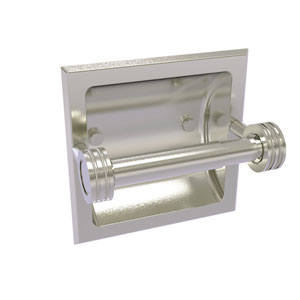 Continental Satin Nickel Six-Inch Recessed Toilet Tissue Holder with Dotted Accents