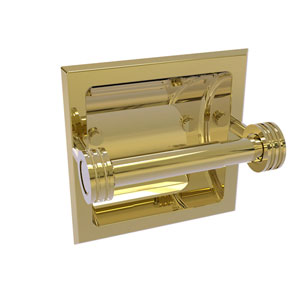 Continental Unlacquered Brass Six-Inch Recessed Toilet Tissue Holder with Dotted Accents