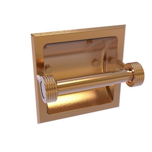 Continental Brushed Bronze Six-Inch Recessed Toilet Tissue Holder with Groovy Accents