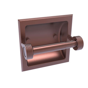 Continental Antique Copper Six-Inch Recessed Toilet Tissue Holder with Groovy Accents