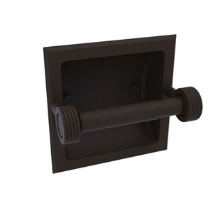 Continental Oil Rubbed Bronze Six-Inch Recessed Toilet Tissue Holder with Groovy Accents