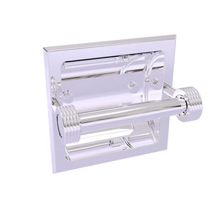 Continental Polished Chrome Six-Inch Recessed Toilet Tissue Holder with Groovy Accents